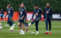 Brazil's Roberto Firmino (second right) during the training session at London Colney, Hertfordshire.