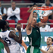 Panathinaikos's Aleksandar MARIC (C) during their Two Nations Cup basketball match Fenerbahce Ulker between Panathinaikos at Abdi Ipekci Arena in Istanbul Turkey on Sunday 02 October 2011. Photo by TURKPIX