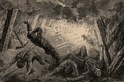 Explosion of Fire-damp (methane) in a mine.   From  'Underground Life; or, Mines and Miners' by Louis Simonin (London, 1869). Wood engraving.