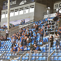 13.09.2020, Carl-Benz-Stadion, Mannheim, GER, DFB-Pokal, 1. Runde, SV Waldhof Mannheim vs. SC Freiburg, <br /> <br /> DFL REGULATIONS PROHIBIT ANY USE OF PHOTOGRAPHS AS IMAGE SEQUENCES AND/OR QUASI-VIDEO.<br /> <br /> im Bild: Fans in Mannheim waehrend des Pokalspiels<br /> <br /> Foto © nordphoto / Fabisch