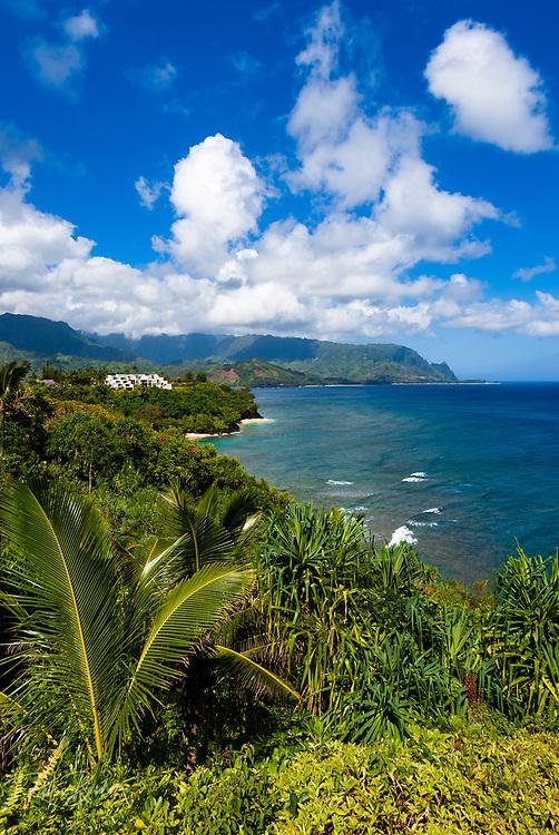 Hideaways Beach and lush coastline from Princeville, Island of Kauai, Hawaii USA