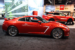 11 February 2016: Nissan GT R.<br /> <br /> First staged in 1901, the Chicago Auto Show is the largest auto show in North America and has been held more times than any other auto exposition on the continent.  It has been  presented by the Chicago Automobile Trade Association (CATA) since 1935.  It is held at McCormick Place, Chicago Illinois<br /> #CAS16
