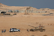 Deserted rusting tank in the Judaean desert, West Bank, Israel