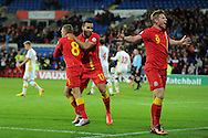 Simon Church of Wales (9) celebrates after he scores the 1st goal.  FIFA World cup 2014 qualifying match, Wales v Macedonia at the Cardiff city stadium in Cardiff on Friday 11th October 2013 pic by Andrew Orchard, Andrew Orchard sports photography,