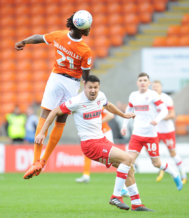 Blackpool's Armand Gnanduillet vies for possession with Rotherham United's Richard Wood<br /> <br /> Photographer Kevin Barnes/CameraSport<br /> <br /> The EFL Sky Bet League One - Blackpool v Rotherham United - Saturday 12th October 2019 - Bloomfield Road - Blackpool<br /> <br /> World Copyright © 2019 CameraSport. All rights reserved. 43 Linden Ave. Countesthorpe. Leicester. England. LE8 5PG - Tel: +44 (0) 116 277 4147 - admin@camerasport.com - www.camerasport.com