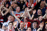 Sunderland fans celebrate after Jack Rodwell scores the first goal of the game. Barclays Premier league match, Watford v Sunderland at Vicarage Road in Watford, London on Sunday 15th May 2016.<br /> pic by Steffan Bowen, Andrew Orchard sports photography.