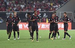 SHANGHAI, July 19, 2017  Team Arsenal celebrate after the match between Arsenal and Bayern Munich of 2017 International Champions Cup China in Shanghai, China, July 19, 2017. (Credit Image: © Jia Yuchen/Xinhua via ZUMA Wire)