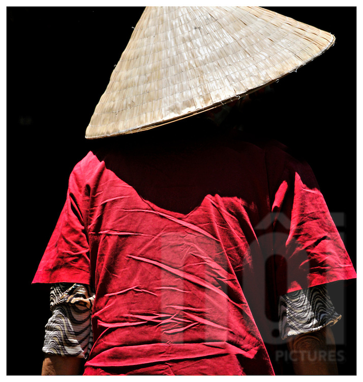 Rear view of an elderly woman in a red shirt wearing a conical hat walking into dark shadows, Khanh Hoa province, Vietnam, Southeast Asia