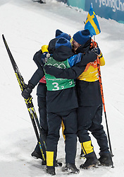23.02.2018, Alpensia Biathlon Centre, Pyeongchang, KOR, PyeongChang 2018, Biathlon, Herren, 4x7.5km Staffel, im Bild Goldmedaillengewinner Team Schweden mit Peppe Femling, Jesper Nelin, Sebastian Samuelsson, Fredrik Lindstroem // gold medalist and Olympic champion Team Sweden with Peppe Femling Jesper Nelin Sebastian Samuelsson Fredrik Lindstroem during the men's Biathlon 4x7.5km relay of the Pyeongchang 2018 Winter Olympic Games at the Alpensia Biathlon Centre in Pyeongchang, South Korea on 2018/02/23. EXPA Pictures © 2018, PhotoCredit: EXPA/ Johann Groder