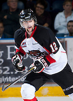 KELOWNA, CANADA - OCTOBER 18:  Daulton Siwak #12 of the Prince George Cougars skates on the ice as the Prince George Cougars visit the Kelowna Rockets on October 18, 2012 at Prospera Place in Kelowna, British Columbia, Canada (Photo by Marissa Baecker/Shoot the Breeze) *** Local Caption ***
