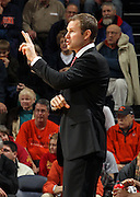 Dec. 30, 2010; Charlottesville, VA, USA; Iowa State Cyclones head coach Fred Hoiberg calls a play during the game against the Virginia Cavaliers at the John Paul Jones Arena. Mandatory Credit: Andrew Shurtleff