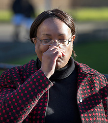 © Licensed to London News Pictures. 05/04/2018. London, UK. Shadow Home Secretary and local MP Diane Abbott waits to talk to reporters as police tent covers the murder scene in Hackney where a 20 year old man was stabbed in Link Street. Police were approached by a man suffering from stab injuries at 8pm last night he was pronounced dead at 8. 24pm by officers. Photo credit: Peter Macdiarmid/LNP