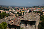View out over rooftops in the historic hill town of Spoleto, Umbria, Italy.