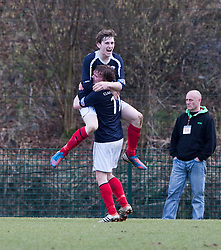 Falkirk's Blair Alston celebrates after scoring their first goal..half time : Hamilton v Falkirk, Scottish Cup quarter-final, Saturday, 2nd March 2013..©Michael Schofield.
