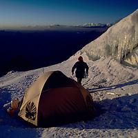 MOUNTAINEERING, Himalaya, Climber at Camp I, (20, 000') on Mt. Nun in Kashmir, India