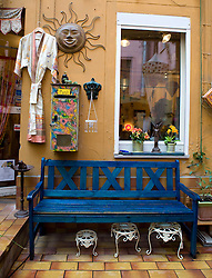 Exterior of arts and crafts shop in courtyard off Bergmannstrasse in bohemian part of Kreuzberg in Berlin Germany 2008