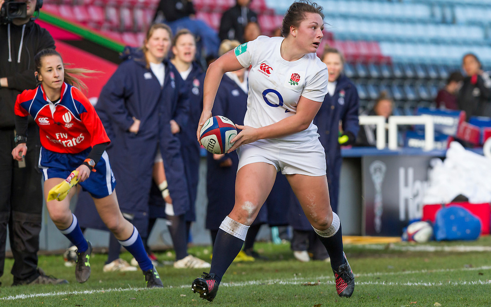 Amy Cokayne in action, England Women v New Zealand Women in an Old Mutual Wealth Series, Autumn International match at Twickenham Stoop, Twickenham, England, on 19th November 2016. Full Time score 20-25