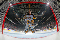 REGINA, SK - MAY 25: Kaden Fulcher #33 of Hamilton Bulldogs stands in net during the national anthem against the Regina Pats at the Brandt Centre on May 25, 2018 in Regina, Canada. (Photo by Marissa Baecker/CHL Images)