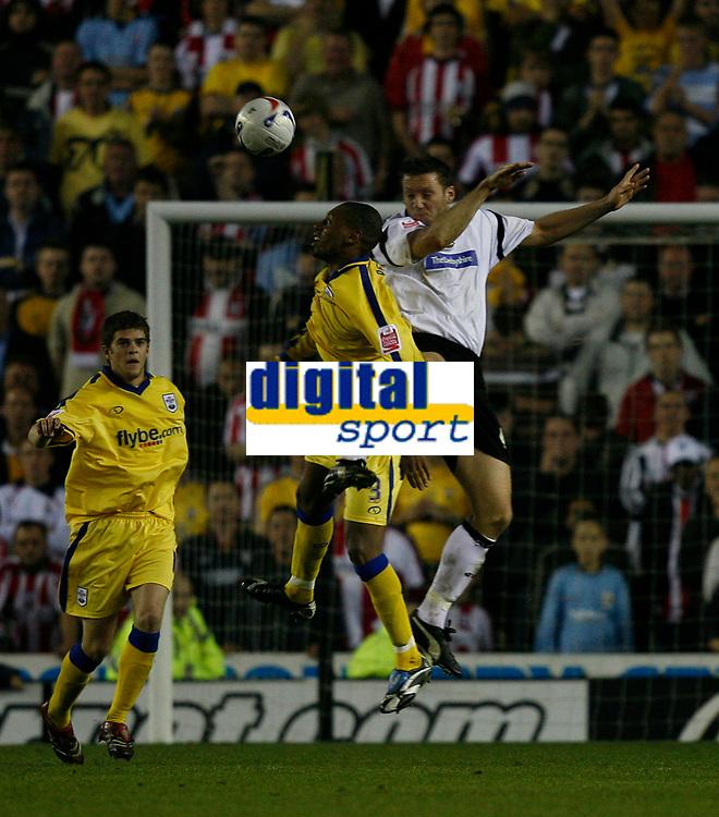 Photo: Steve Bond.<br />Derby County v Southampton. Coca Cola Championship. Play Off Semi Final, 2nd Leg. 15/05/2007. Steve Howard (R) battles with Pele (L)