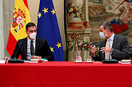 King Felipe VI of Spain, Queen Letizia of Spain attends the Annual meeting of the Board of the Instituto Cervantes at Palacio de El Pardo on October 6, 2020 in Madrid, Spain