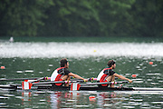 Bled, SLOVENIA,  CAN LM 2X, Semi finals, Bow Douglas VANDOR and Cameron SYLVESTER, winning the semi final, in the women's lightweight double sculls at the  FISA World Cup, Bled. Held on Lake Bled.  Saturday  29/05/2010  [Mandatory Credit Peter Spurrier/ Intersport Images].Crew