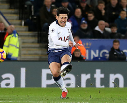 Tottenham Hotspur's Son Heung-min scores the opening goal during the Premier League match at the King Power Stadium, Leicester.