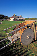 Wooden cart and the Great Hall at Grand Portage, Grand Portage National Monument, Minnesota