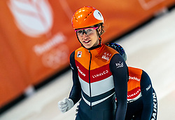 Suzanne Schulting of Netherlands win the 1500 meter during ISU World Short Track speed skating Championships on March 06, 2021 in Dordrecht