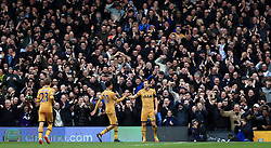 Tottenham Hotspur's Harry Kane (right) celebrates with team-mate Dele Alli after scoring his side's third goal, completing his hat-trick