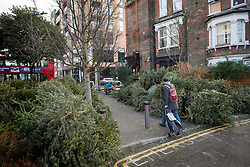 © Licensed to London News Pictures. 07/01/2021. London, UK. Piles of Christmas tress at a recycling point in Kensal Green, West London, which haven't been collected during a third national Lockdown. Photo credit: Ben Cawthra/LNP