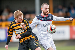 Alloa Athletic's Ryan McCord and Falkirk's Joe Chalmers.<br /> Alloa Athletic 3 v 0 Falkirk, Scottish Championship game played today at Alloa Athletic's home ground, Recreation Park.<br /> © Michael Schofield.