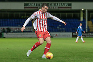 Ronnie Henry (Stevenage) crosses the ball into the box during the Sky Bet League 2 match between Hartlepool United and Stevenage at Victoria Park, Hartlepool, England on 9 February 2016. Photo by Mark P Doherty.