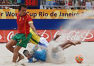 Football-FIFA Beach Soccer World Cup 2006 - Semi-final -BRA_POR -Benjamin-BRA- strike was saved buy Bruno,Gk, and Hernani-POR - Rio de Janeiro - Brazil 11/11/2006<br />Mandatory credit: FIFA/ Marco Antonio Rezende.