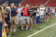 This was the longest line for autographs - the line for the table Kurt Warner was sitting at with a couple of teammates.