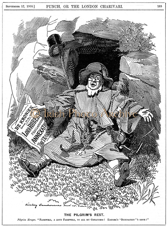 (Stephanus Johannes) Paulus Kruger (1825-1904) known as Oom Paul. South African politician. In 2nd Boer War (1899-1900), Kruger was too old and unwell to cope with guerrilla warfare and found refuge in Holland. Cartoon by Edward Linley Sambourne from 'Punch', 12 September 1900. Engraving