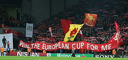 March 6, 2018 - Liverpool, U.S. - 6th March 2018, Anfield, Liverpool, England; UEFA Champions League football, round of 16, 2nd leg, Liverpool versus FC Porto; Liverpool fans on the Kop display banners as the teams take to the field (Photo by Dave Blunsden/Actionplus/Icon Sportswire) ****NO AGENTS---NORTH AND SOUTH AMERICA SALES ONLY****NO AGENTS---NORTH AND SOUTH AMERICA SALES ONLY* (Credit Image: © Dave Blunsden/Icon SMI via ZUMA Press)