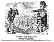 "Bearding the Buccleuch. ""These are Midlothian's voters new, and, Southron, I'm the bold Buccleuch!!"" ""He denounced the system of faggot-votes, by which a practical fraud is played upon the constitution, and counties are wrested from there natural electors, the constituents."" - Spectator's ""Notes of the week."""