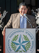 Houston ISD superintendent Richard Carranza comments during a ceremony to rename Jackson Middle School to Navarro Middle School in honor of Yolanda Black Navarro, October 5, 2016.