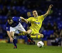 Photo. Aidan Ellis.<br />Everton v Charlton. <br />Carling Cup Round 3.<br />29/10/2003.<br />Everton's James McFadden and Charlton's Scott Parker