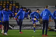AFC Wimbledon attacker Ryan Longman (29) and AFC Wimbledon striker Ollie Palmer (9) warming up prior to kick off during the EFL Sky Bet League 1 match between AFC Wimbledon and Peterborough United at Plough Lane, London, United Kingdom on 2 December 2020.