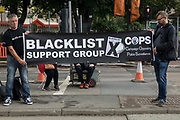 Members of the Blacklist Support Group hold a banner outside the Euston construction site for the HS2 high-speed rail link in solidarity with members of the Unite trade union protesting regarding trade union access to construction workers building tunnel sections for the project on 6th August 2021 in London, United Kingdom. Unite claims that HS2s joint venture contractor SCS, formed by Skanska, Costain and Strabag, has been hindering meaningful trade union access to HS2 construction workers in contravention of the HS2 agreement.