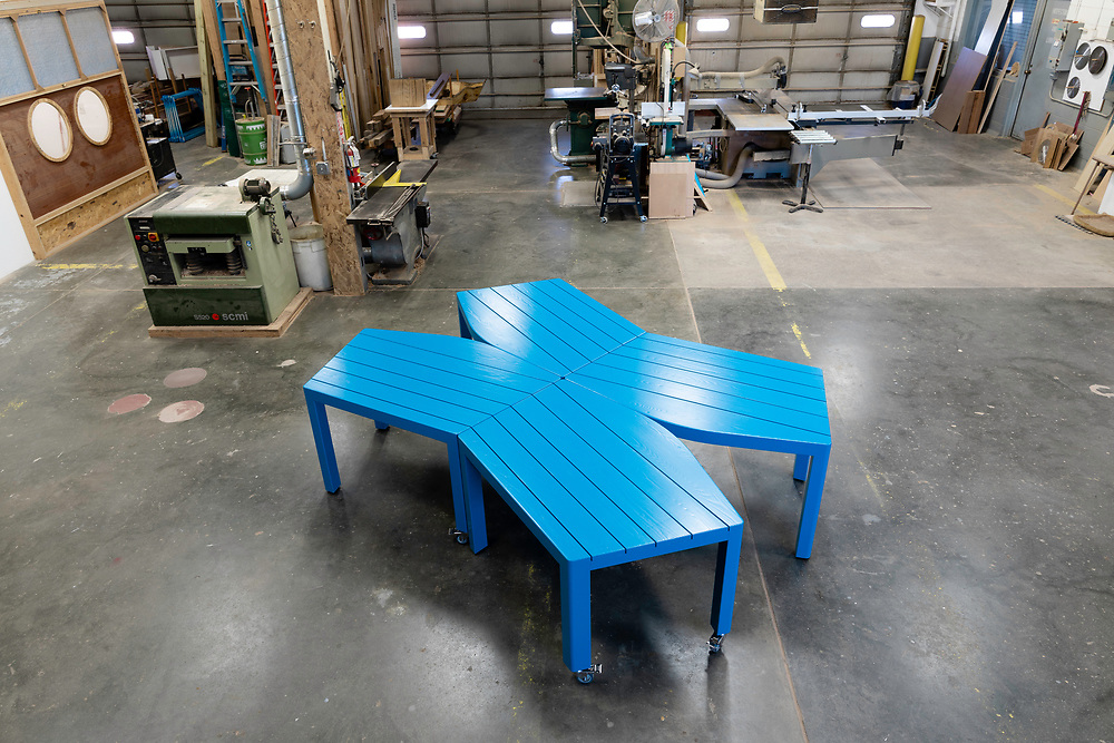 2020 October 15 - Tables designed by Jeff Day for Film Streams, built by Todd McCollister.