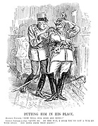 """Putting Him in His Place. Austrian Emperor. """"How well our arms are doing!"""" German Emperor (coldly). """"Quite so. By the way, I hear you've got a war on with Italy. Any news from that front?"""""""