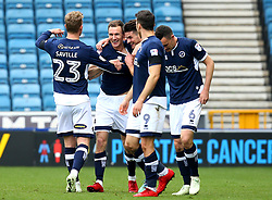 Jed Wallace of Millwall celebrates with teammates after scoring a goal to make it 1-0 - Mandatory by-line: Robbie Stephenson/JMP - 07/04/2018 - FOOTBALL - The Den - London, England - Millwall v Bristol City - Sky Bet Championship