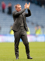 Celtic's manager Brendan Rodgers applauds supporters after victory against Heart of Midlothian in the Betfred Cup semi final match at BT Murrayfield Stadium, Edinburgh.