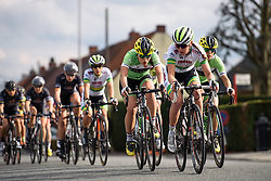 One lap to go, Rachele Barbieri (Cylance Pro Cycling) sets the pace - Grand Prix de Dottignies 2016. A 117km road race starting and finishing in Dottignies, Belgium on April 4th 2016.