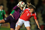 Kayleigh Green of Wales puts pressure on Grace Moloney, the Rep of Ireland goalkeeper.Friendly International Womens football, Wales Women v Republic of Ireland Women at Rodney Parade in Newport, South Wales on Friday 19th August 2016.<br /> pic by Andrew Orchard, Andrew Orchard sports photography.