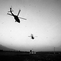 US supplied helicopters take off from a forward operating base in Tame, Arauca on a search and destroy mission against insurgent forces in the area.