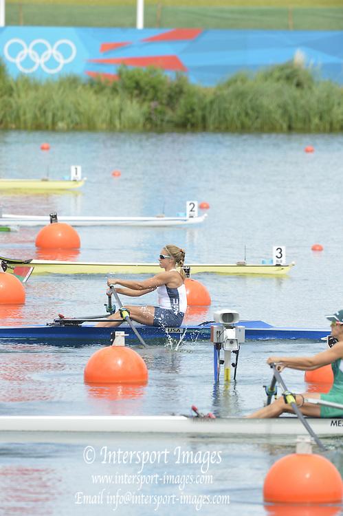 Eton Dorney, Windsor, Great Britain,..2012 London Olympic Regatta, Dorney Lake. Eton Rowing Centre, Berkshire[ Rowing]...Description;  BLR W1X USA W1x MEX W1X women's single sculls start of a race.  16:10:03  Saturday  28/07/2012.[Mandatory Credit: Peter Spurrier/Intersport Images].