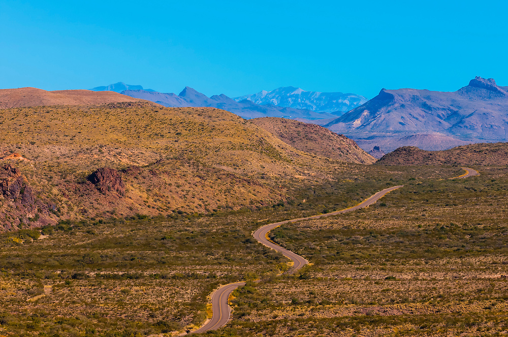 Windy road (Ross Maxwell Scenic Drive), Big Bend National Park, Texas USA.